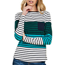Buy Barbour Selsey Stripe Top, White/Dark Evergreen Online at johnlewis.com