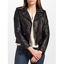 Buy Levi's Relaxed Leather Moto Jacket, Black Online at johnlewis.com