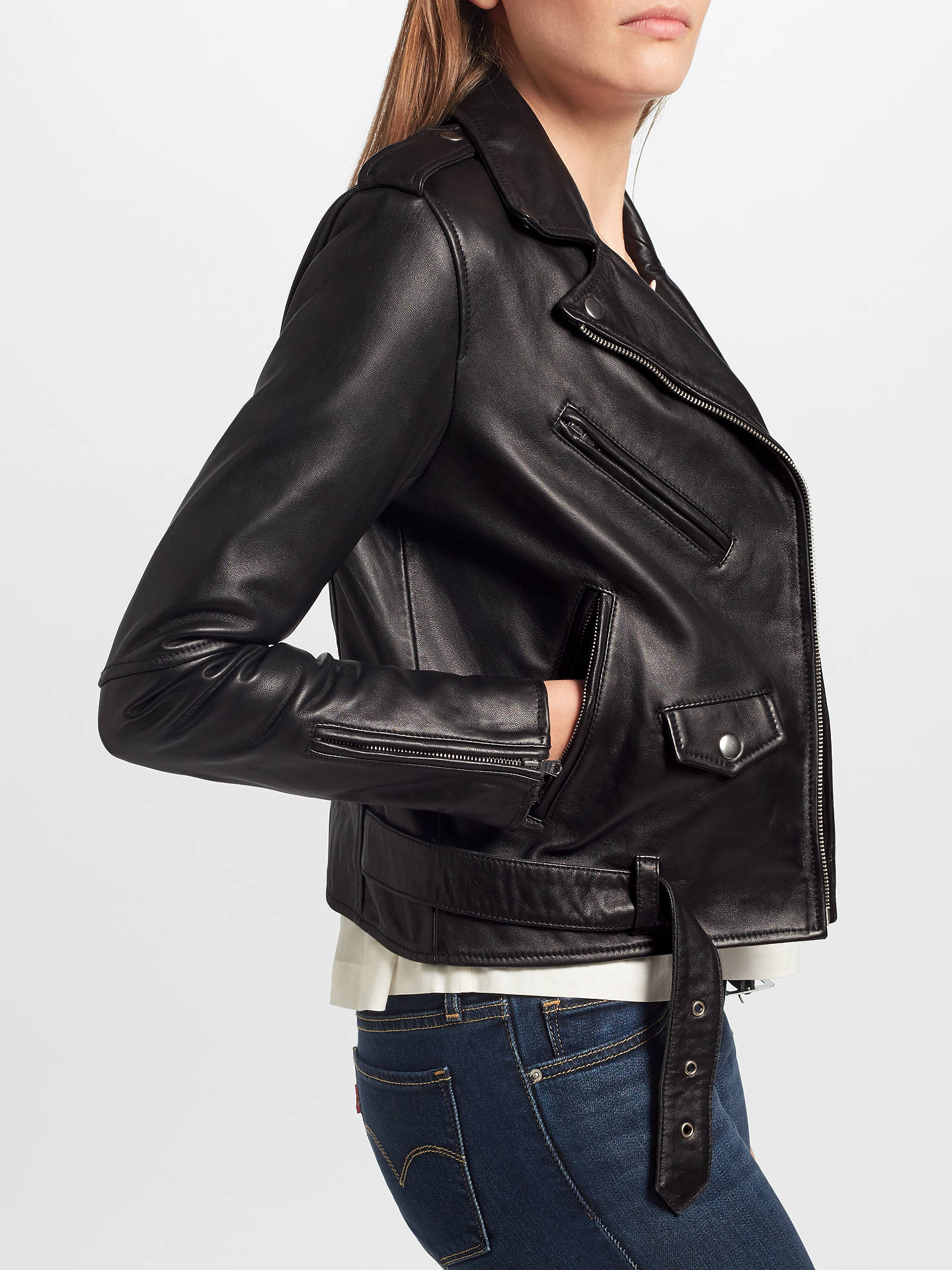 36e7f6426 Levi's Relaxed Leather Moto Jacket, Black at John Lewis & Partners