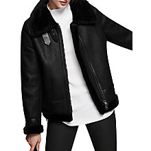 Buy Reiss Arla Short Shearling Leather Jacket, Black Online at johnlewis.com