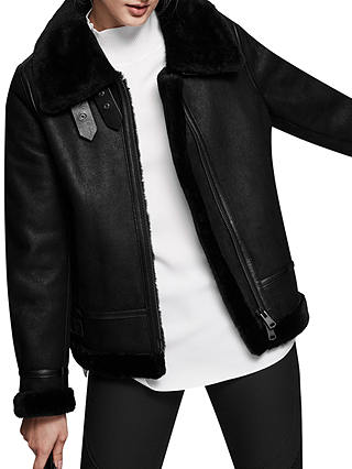 Buy Reiss Arla Short Shearling Leather Jacket, Black, XS Online at johnlewis.com