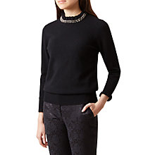 Buy Hobbs Julia Wool Blend Embellished Neck Sweater, Black Online at johnlewis.com