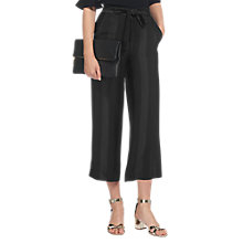 Buy Whistles Satin Stripe Cropped Trousers, Black Online at johnlewis.com
