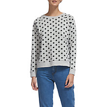 Buy Whistles Flocked Spot Sweatshirt, Grey Marl Online at johnlewis.com