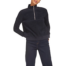 Buy Whistles Zip-Neck Fleece Sweatshirt, Navy Online at johnlewis.com