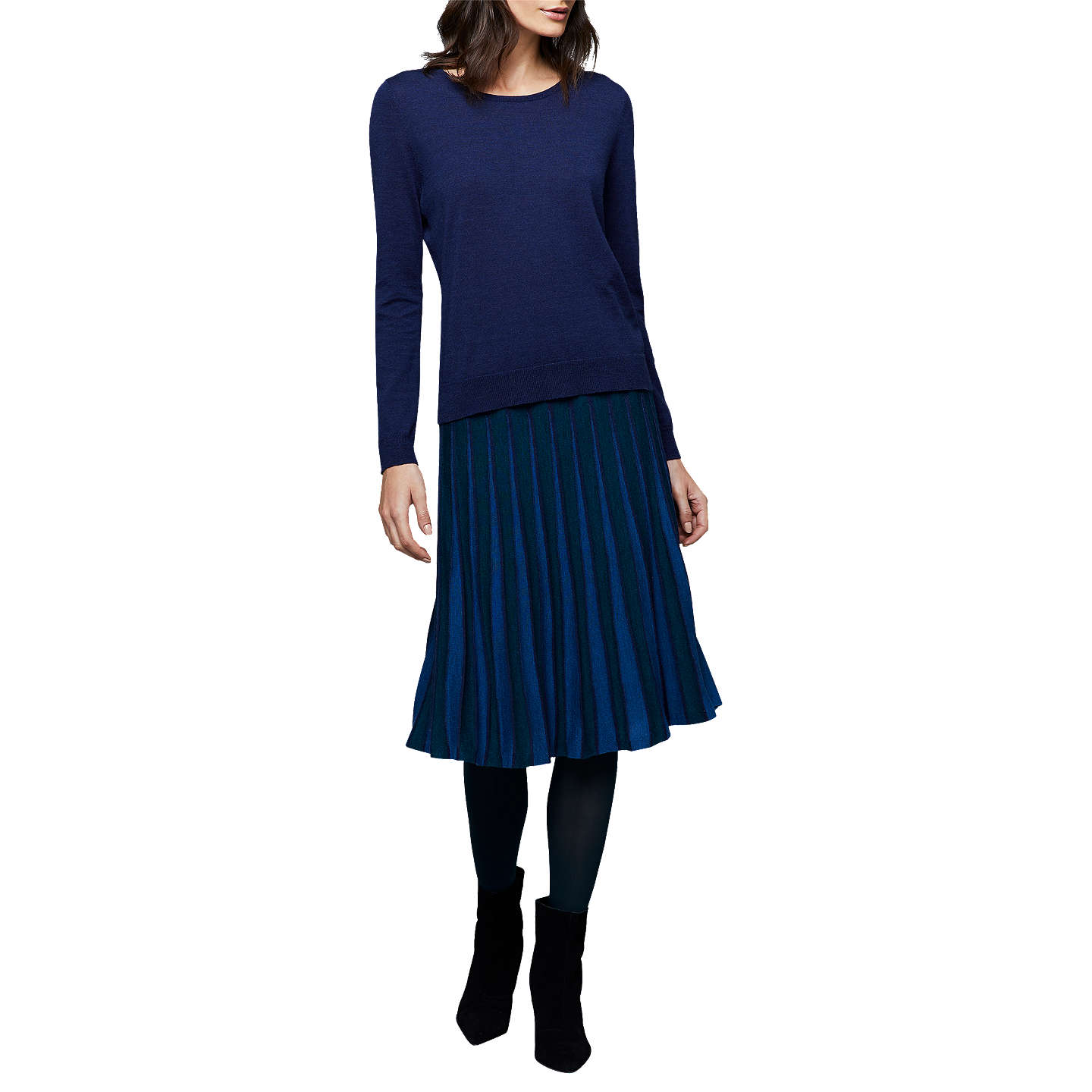 BuyEast Merino Pleat Stripe Skirt, Ink, S Online at johnlewis.com