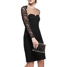Buy Reiss Joelie Lace Panelled Bodycon Dress, Black/Nude Online at johnlewis.com