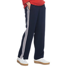 Buy Whistles Multi Stripe Detail Trousers, Navy Online at johnlewis.com
