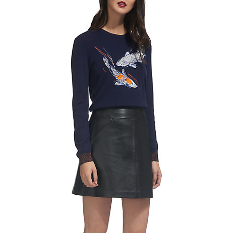 Buy Whistles Carpe Embroidered Jumper, Navy Online at johnlewis.com
