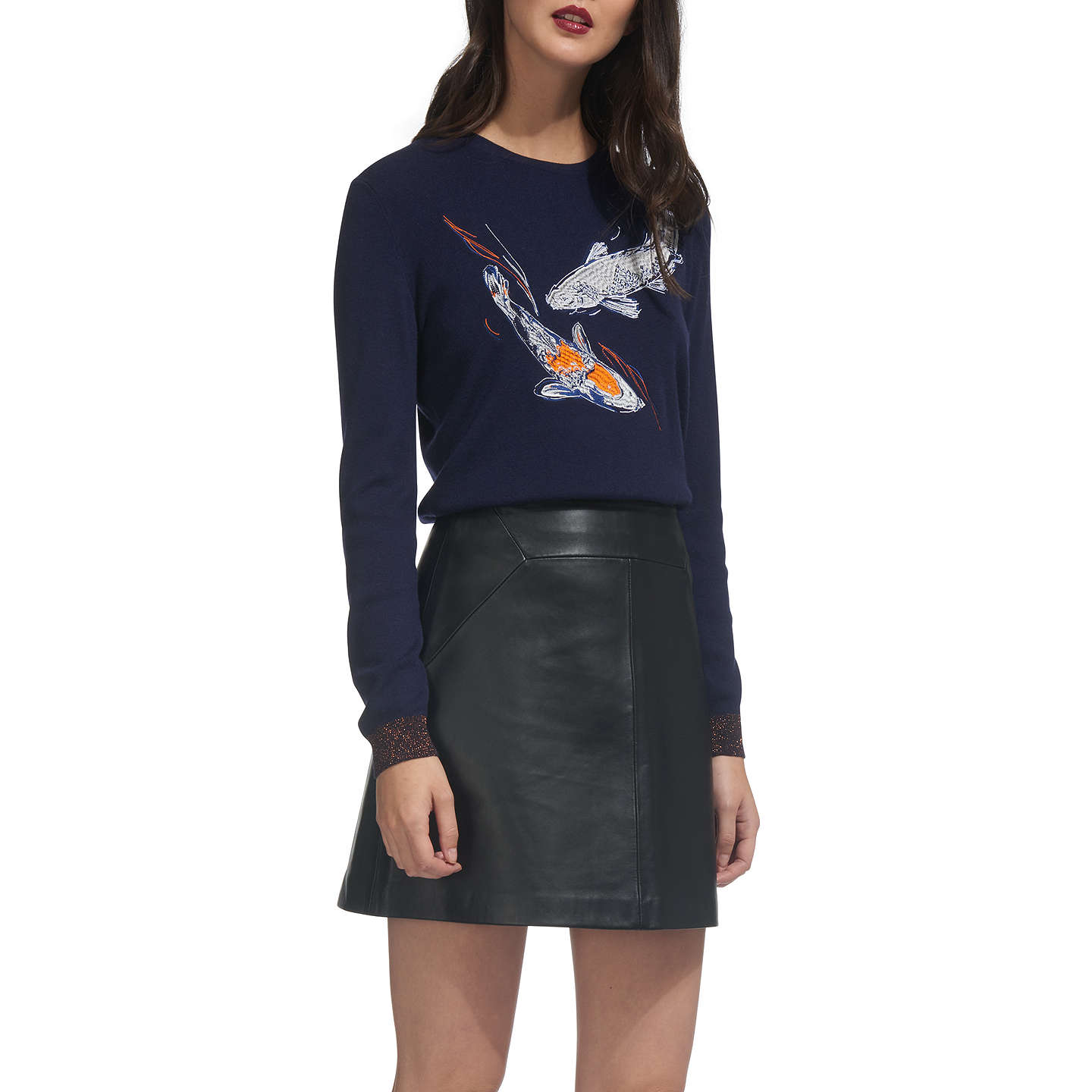 BuyWhistles Carpe Embroidered Jumper, Navy, 6 Online at johnlewis.com