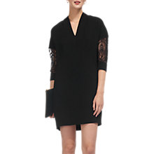 Buy Whistles Paige Lace Sleeve Dress, Black Online at johnlewis.com