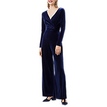 Buy Finery Hatfield Twist Front Velvet Jumpsuit, Navy Online at johnlewis.com