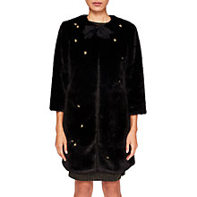 Buy Ted Baker Fabbro Faux Fur Bow Coat, Black Online at johnlewis.com