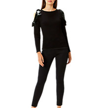 Buy Coast Behati Velvet Bow Knit Top, Black Online at johnlewis.com