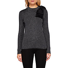 Buy Ted Baker Saaydie Bow Detail Metallic Jumper, Gunmetal Online at johnlewis.com