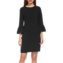 Buy Whistles Raven Fluted Sleeve Dress, Black Online at johnlewis.com