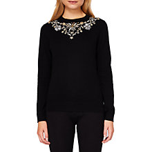 Buy Ted Baker Eliyza Embellished Neck Jumper, Black Online at johnlewis.com