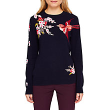Buy Ted Baker Auroraa Bird Blossom Embroidered Jumper, Dark Blue Online at johnlewis.com
