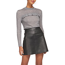 Buy Whistles Frill Detail Wool Mix Top, Grey Marl Online at johnlewis.com