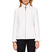 Buy Ted Baker Lydiah Ruffle Detail Bomber Jacket, Ivory Online at johnlewis.com