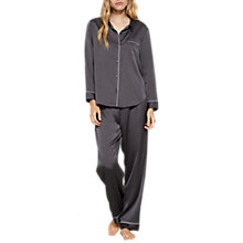 Buy Mint Velvet Satin Pyjama Set, Dark Grey Online at johnlewis.com