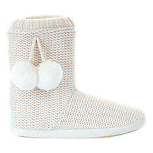 Buy Hygge by Mint Velvet Pom Pom Knit Boot Slippers, Ivory Online at johnlewis.com