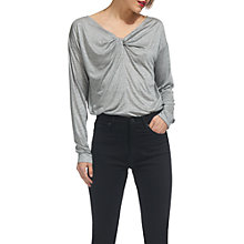 Buy Whistles Twist Front T-Shirt, Grey Marl Online at johnlewis.com