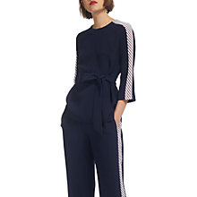Buy Whistles Side Stripe Tie Waist Top, Navy Online at johnlewis.com
