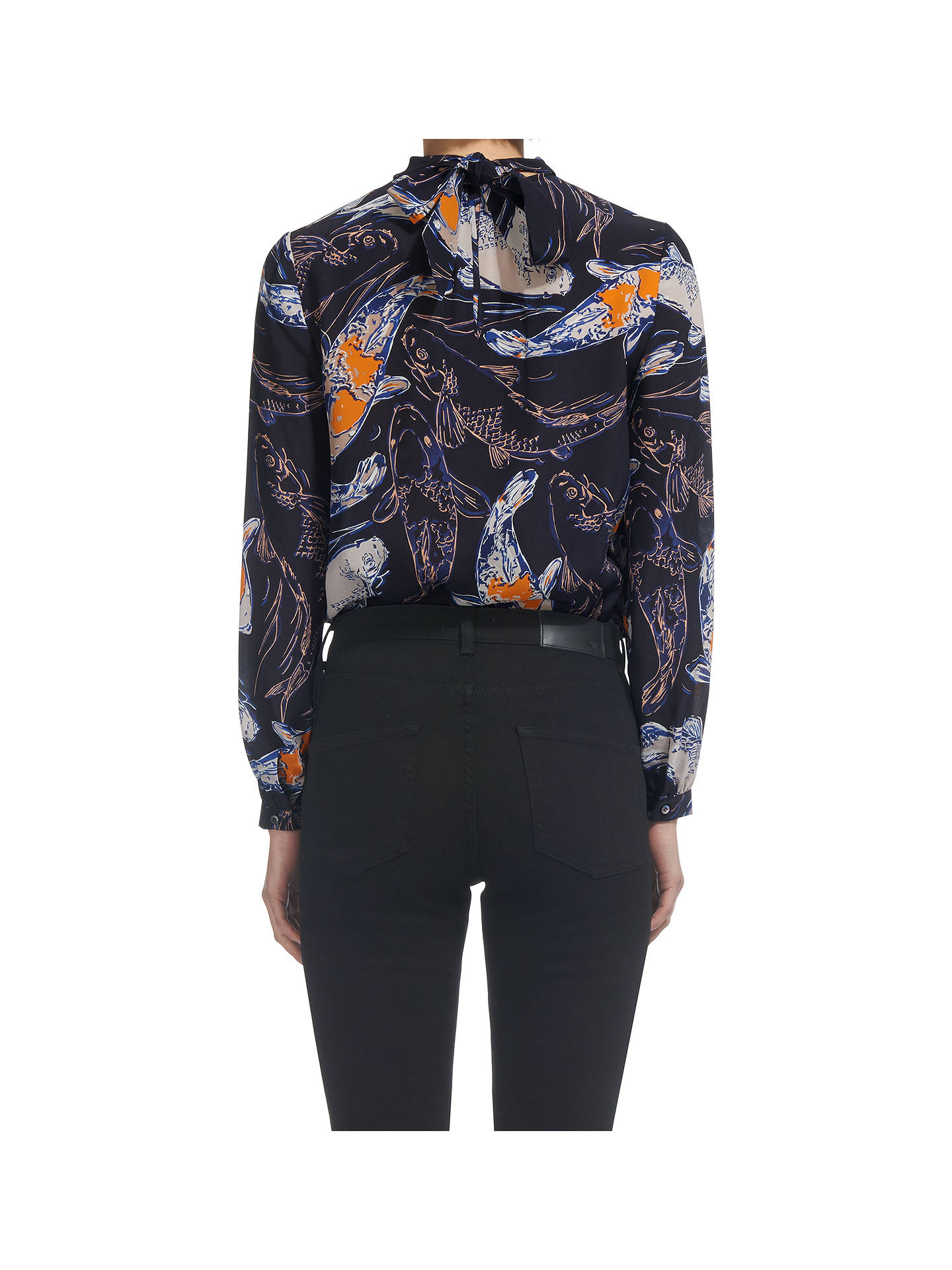 BuyWhistles Caroline Koi Carpe Silk Top, Navy/Multi, 6 Online at johnlewis.com