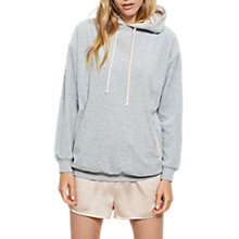 Buy Mint Velvet Velour Hooded Jumper, Light Grey Online at johnlewis.com