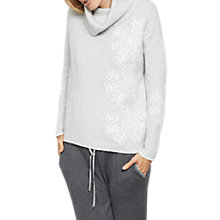 Buy Hygge by Mint Velvet Snowflake Embroidered Cowl Neck Jumper, Light Grey Online at johnlewis.com