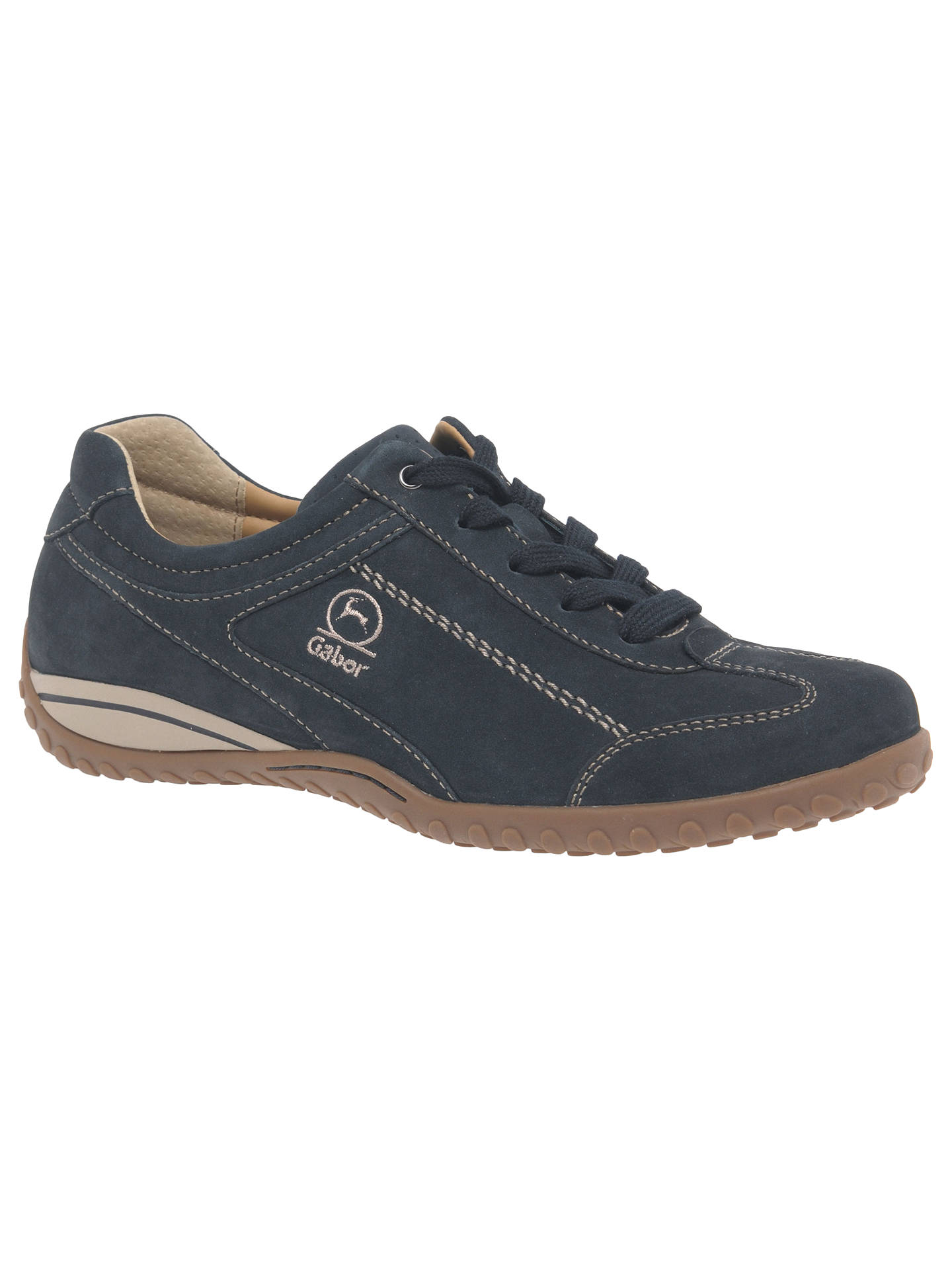 Gabor Tote Extra Wide Fit Lace Up Trainers, Night Blue