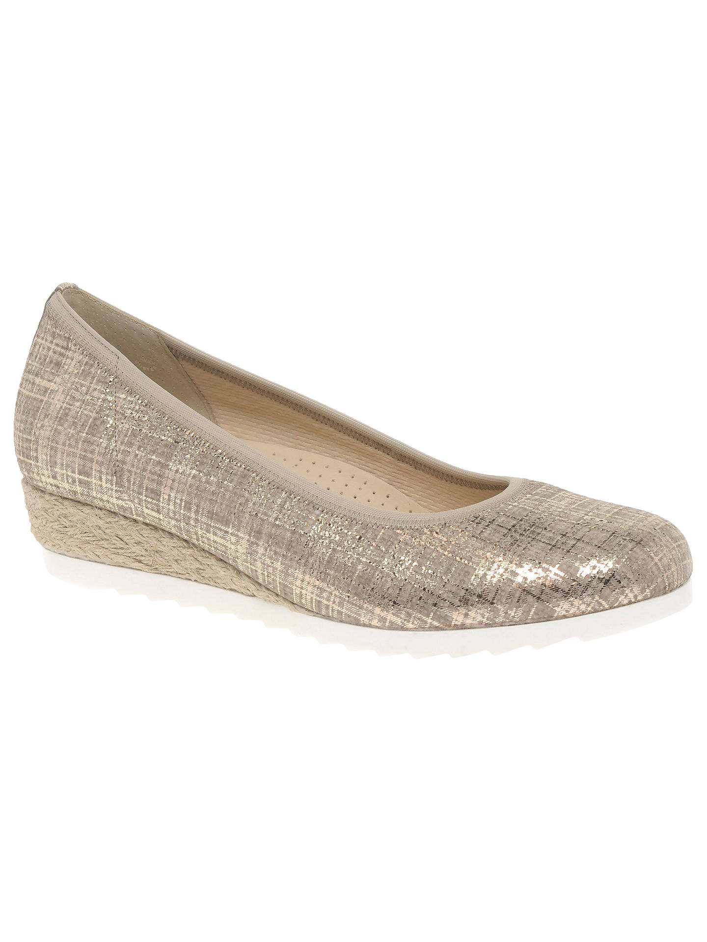 ce1fe077c Buy Gabor Epworth Wide Fit Wedge Heeled Pumps, Gold Leather, 4 Online at  johnlewis ...