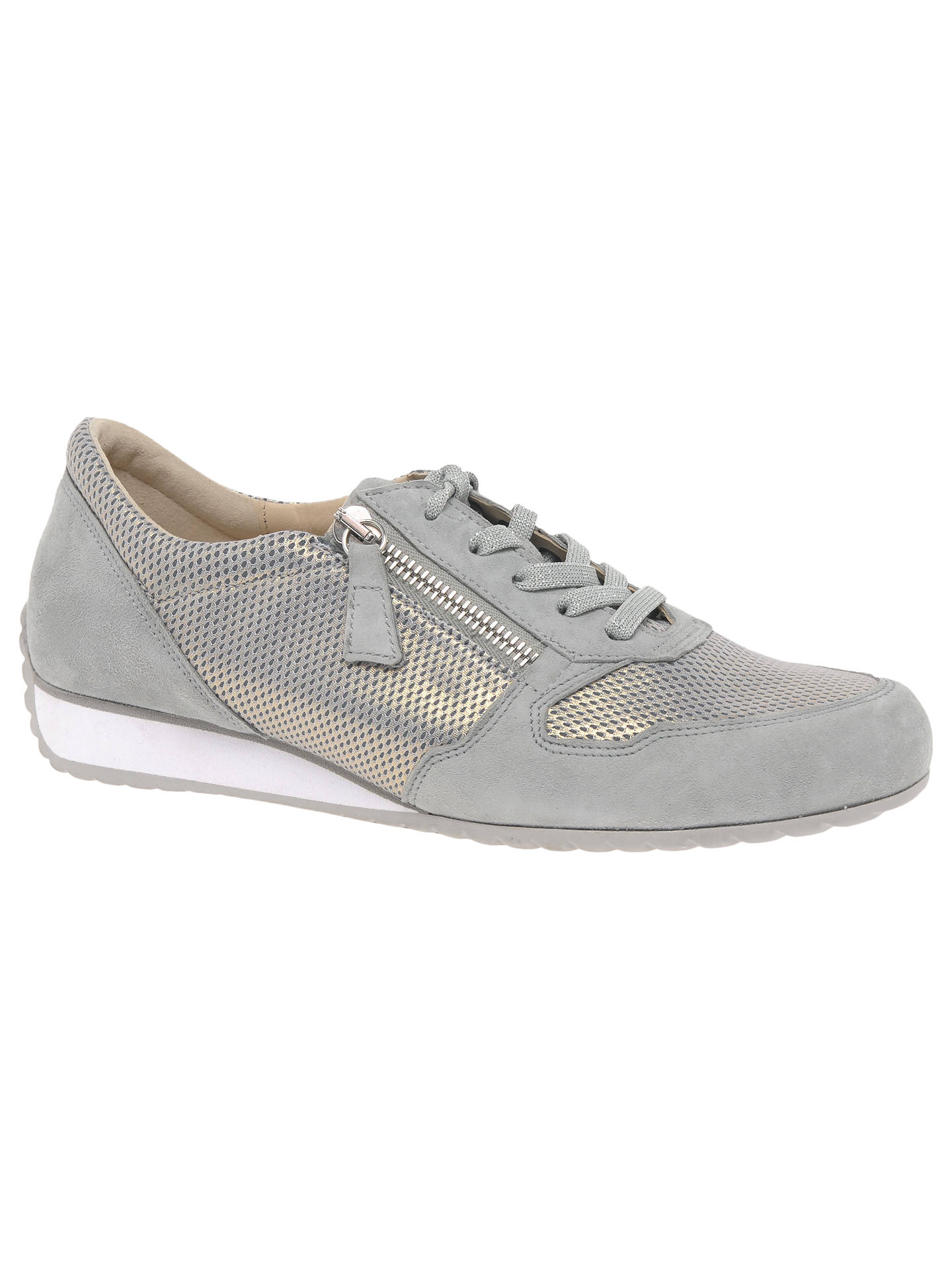 e41c04fc31e23 Buy Gabor Maybelle Wide Fit Lace Up Trainers, Light Grey Suede, 4 Online at  ...
