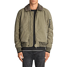 Buy AllSaints Faro Bomber Jacket, Green Online at johnlewis.com