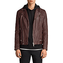Buy AllSaints Conroy Leather Biker Jacket, Oxblood Online at johnlewis.com