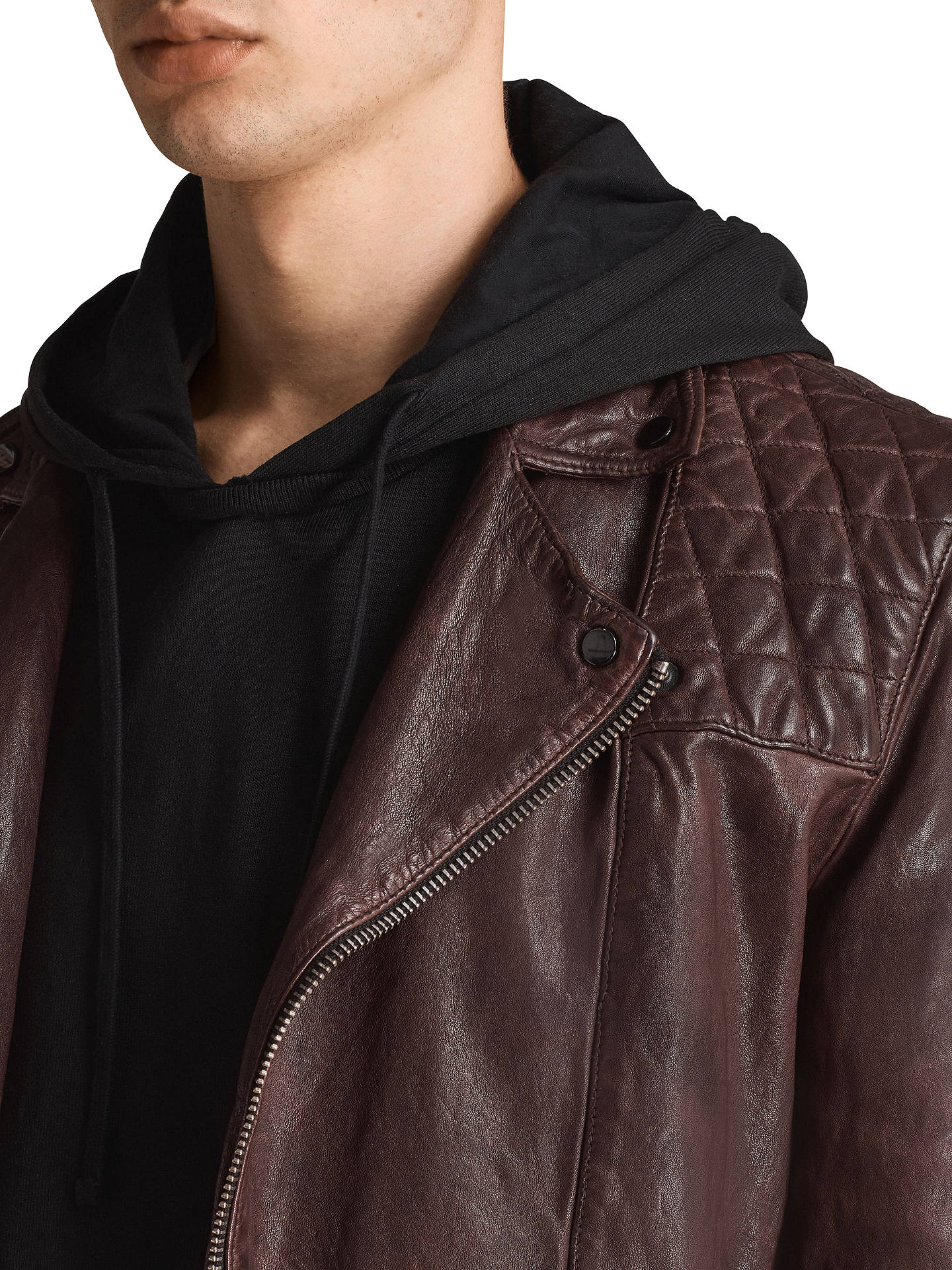 Buy AllSaints Conroy Leather Biker Jacket, Oxblood, XS Online at johnlewis.com