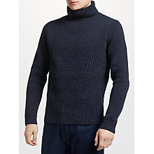 Buy Original Penguin Tuck Stitch Roll Neck Jumper, Dark Sapphire Online at johnlewis.com