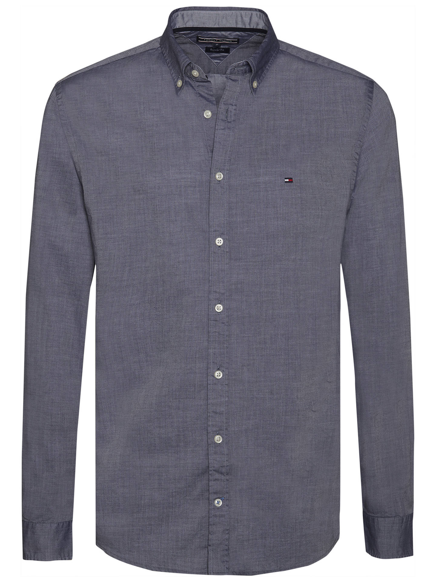 4a068a09 ... Buy Tommy Hilfiger Two Tone Dobby Shirt, Navy, S Online at  johnlewis.com ...