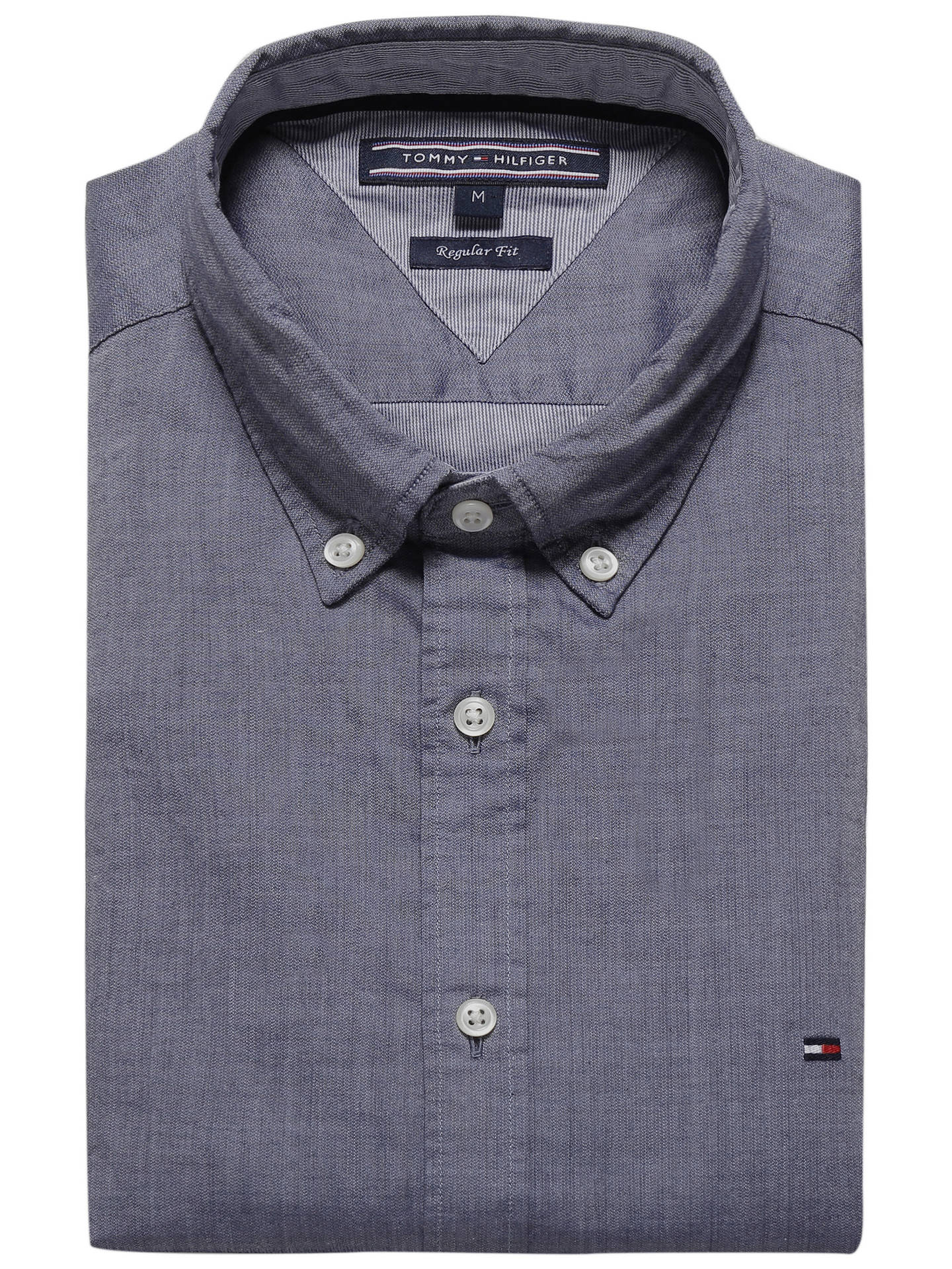 c7536842 ... Buy Tommy Hilfiger Two Tone Dobby Shirt, Navy, S Online at johnlewis.com