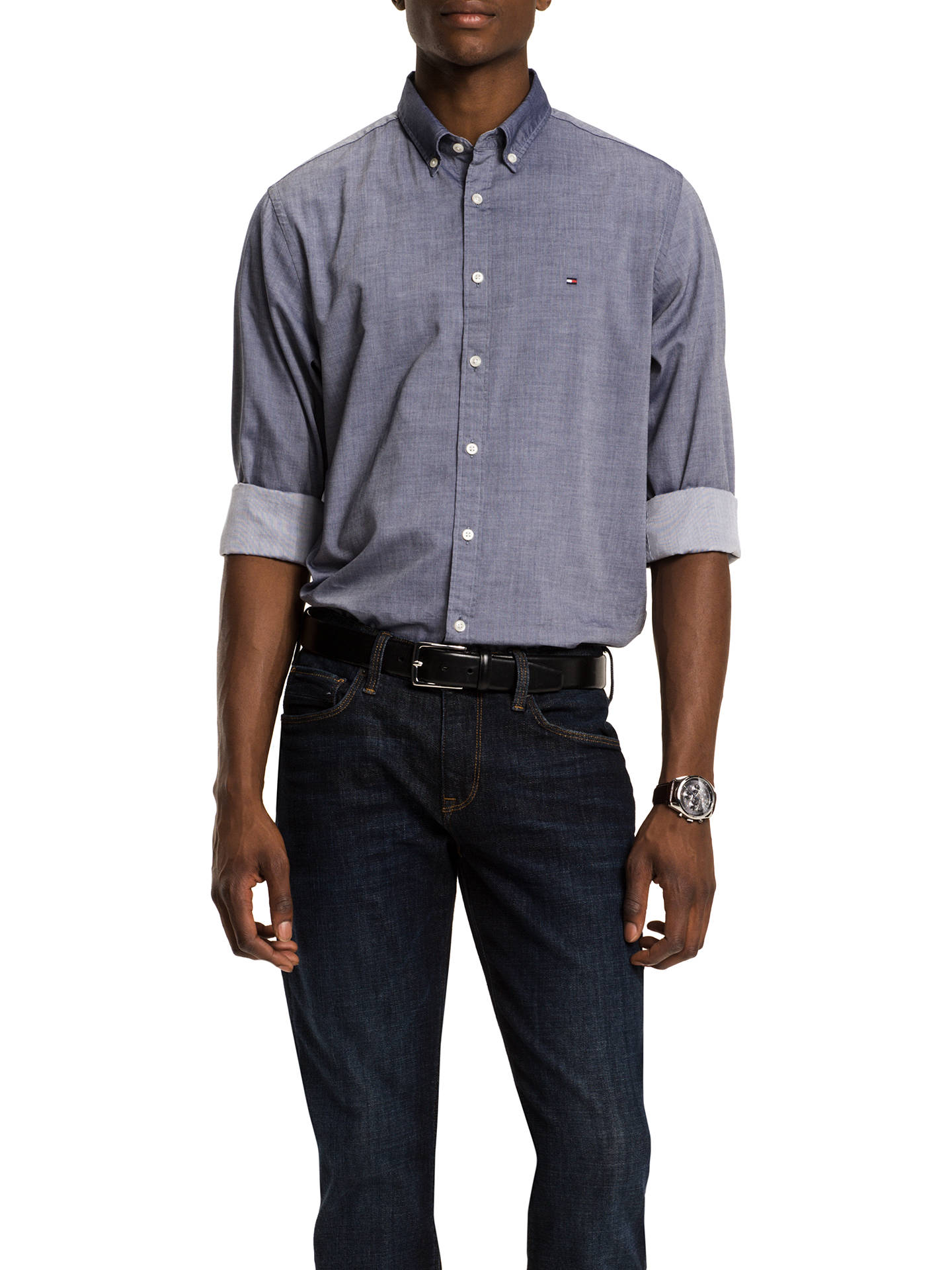 ed57f5f5 Buy Tommy Hilfiger Two Tone Dobby Shirt, Navy, S Online at johnlewis.com ...