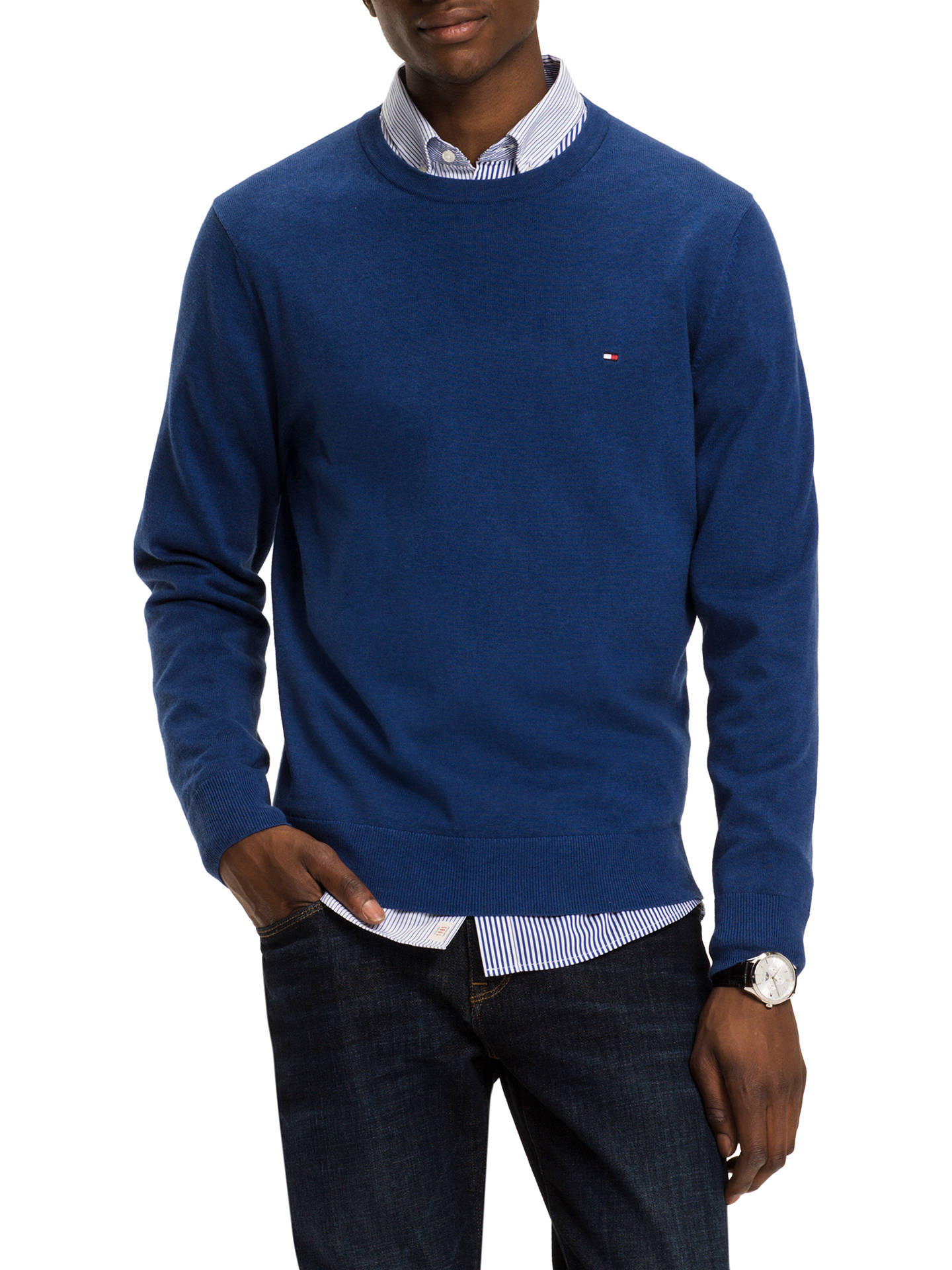 9425ef31f Buy Tommy Hilfiger Plaited Cotton Silk Crew Neck Jumper, Blue, S Online at  johnlewis ...