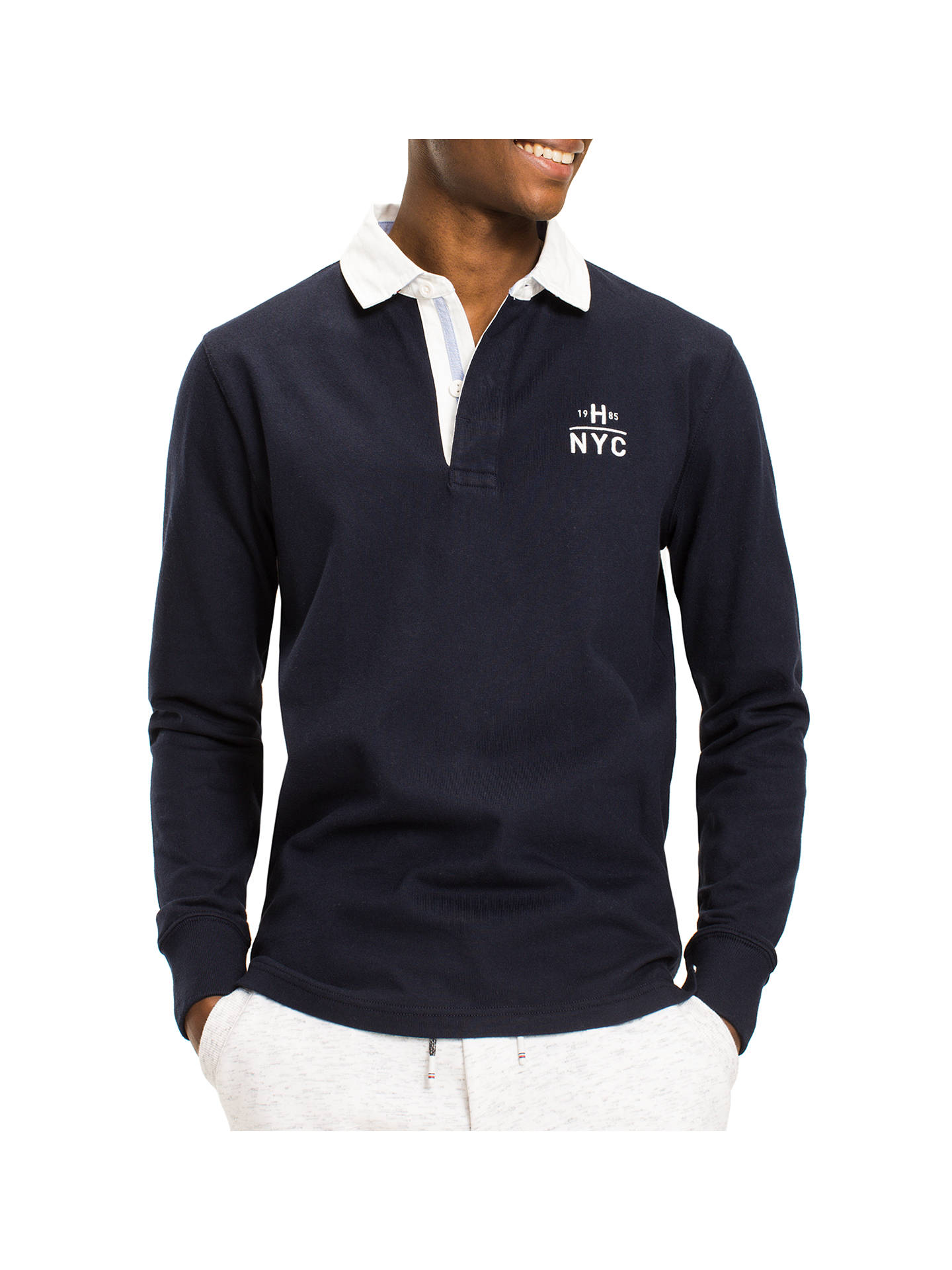 tommy hilfiger ryan long sleeve rugby top, navy at john lewis \u0026 partners