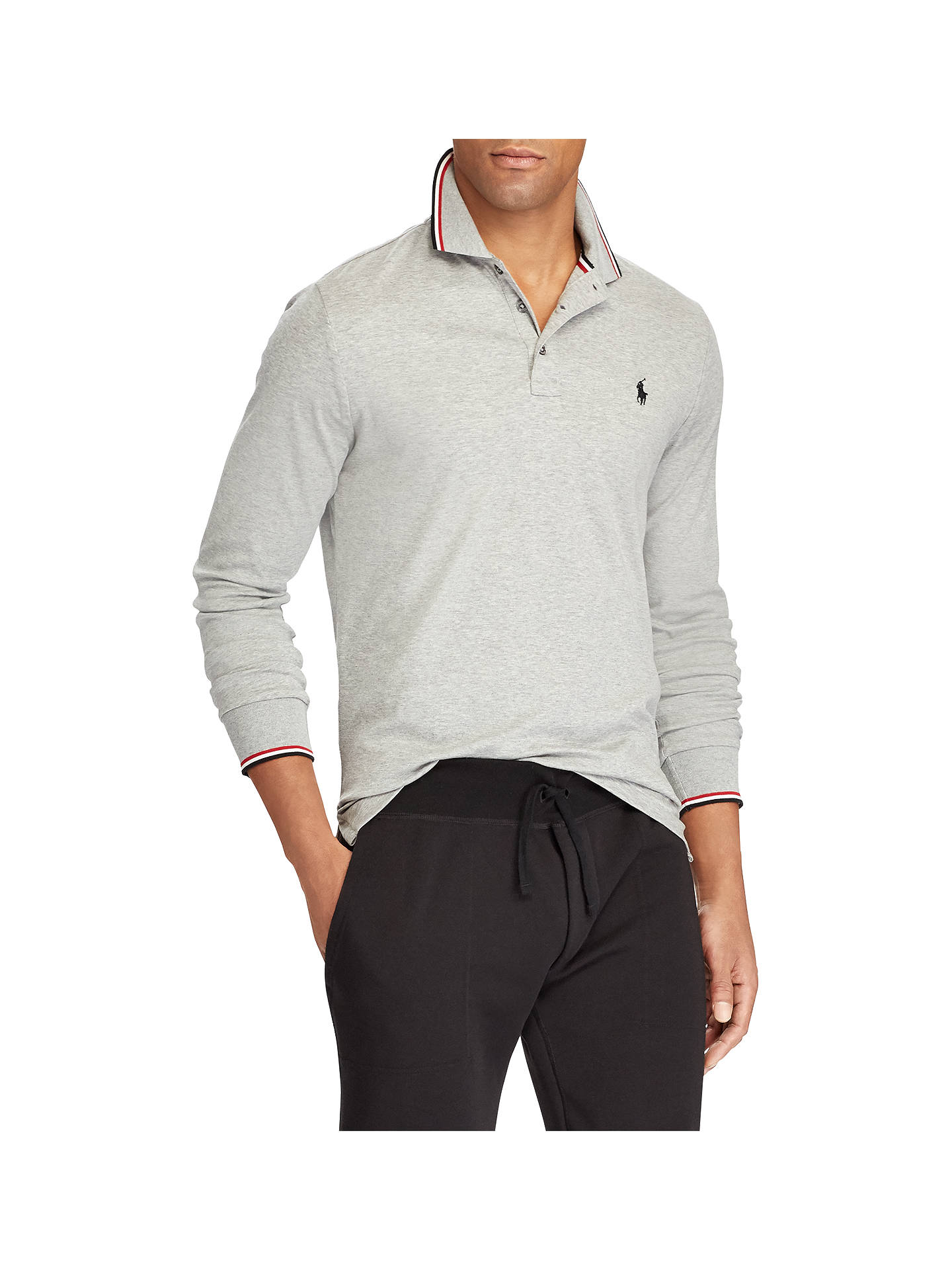 8375ab496003 Buy Polo Ralph Lauren Slim Fit Long Sleeve Polo Shirt, Andover Heather, S  Online ...