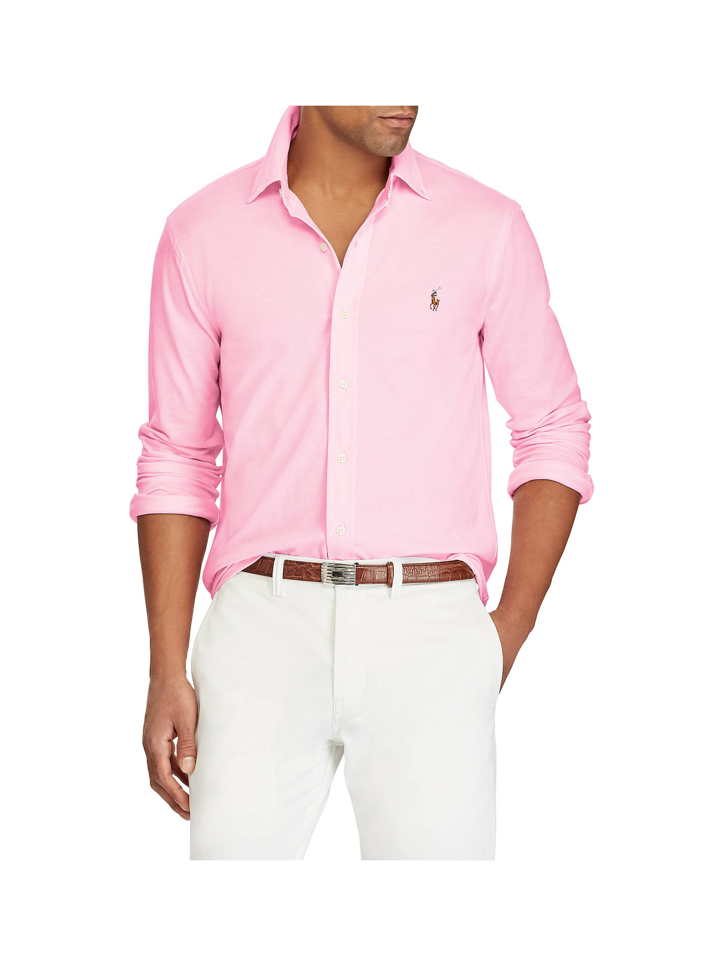 BuyPolo Ralph Lauren Custom Fit Oxford Shirt, Carmel Pink White, S Online  at ... d76152f516e2