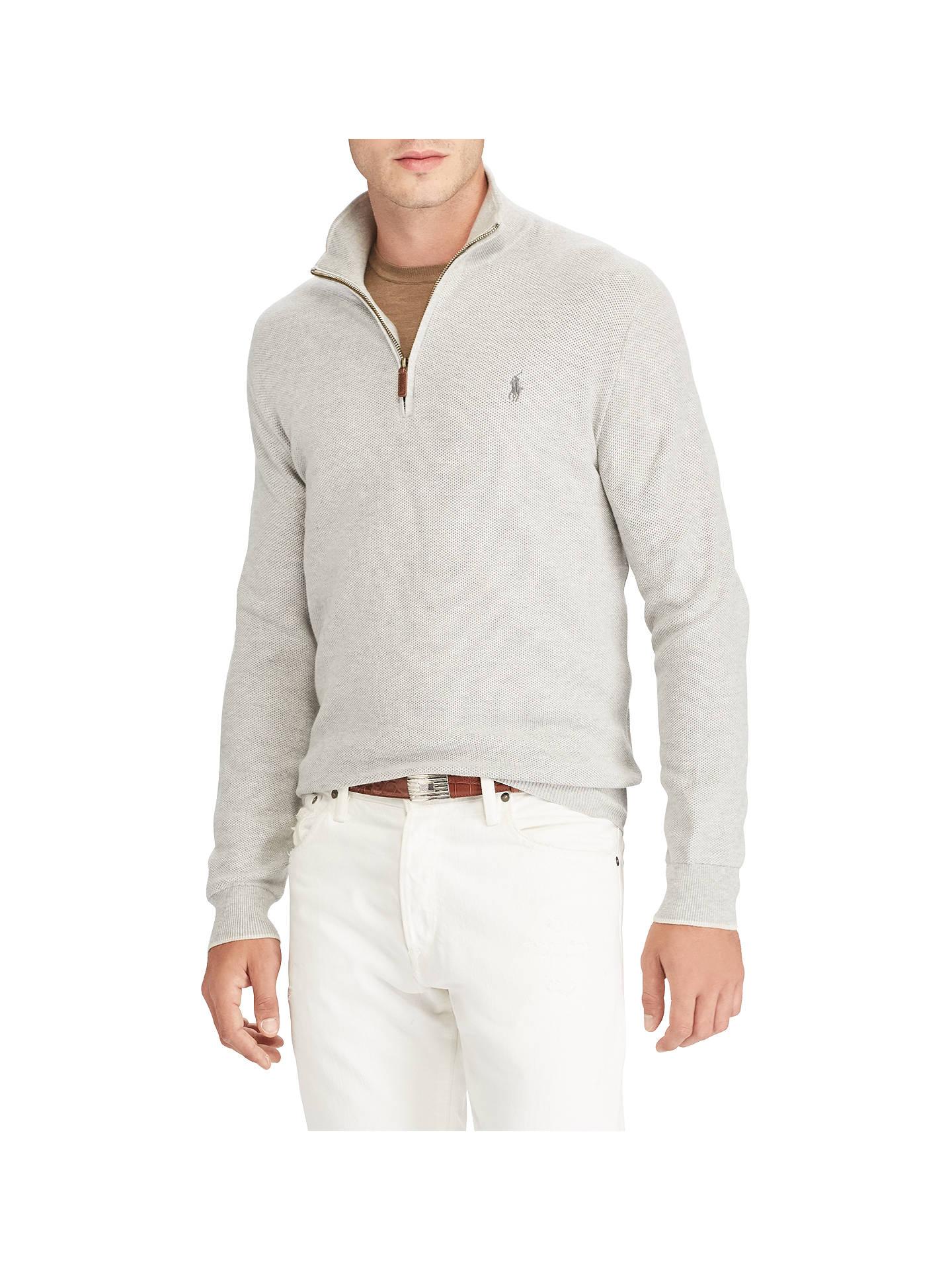 6eeca062231376 Buy Polo Ralph Lauren Half Zip Jumper, Grey Heather, S Online at johnlewis.