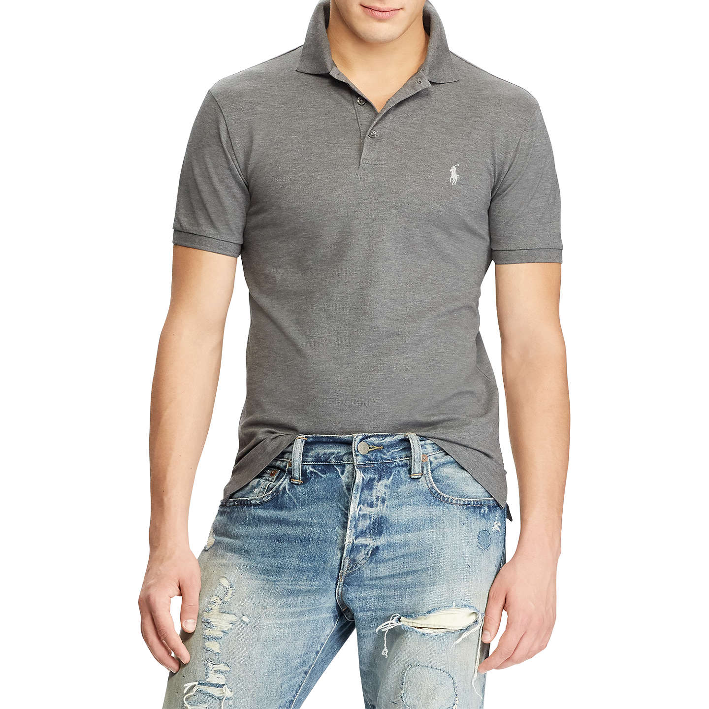 BuyPolo Ralph Lauren Custom Slim Fit Polo Top, Foster Grey Heather, S  Online at ...