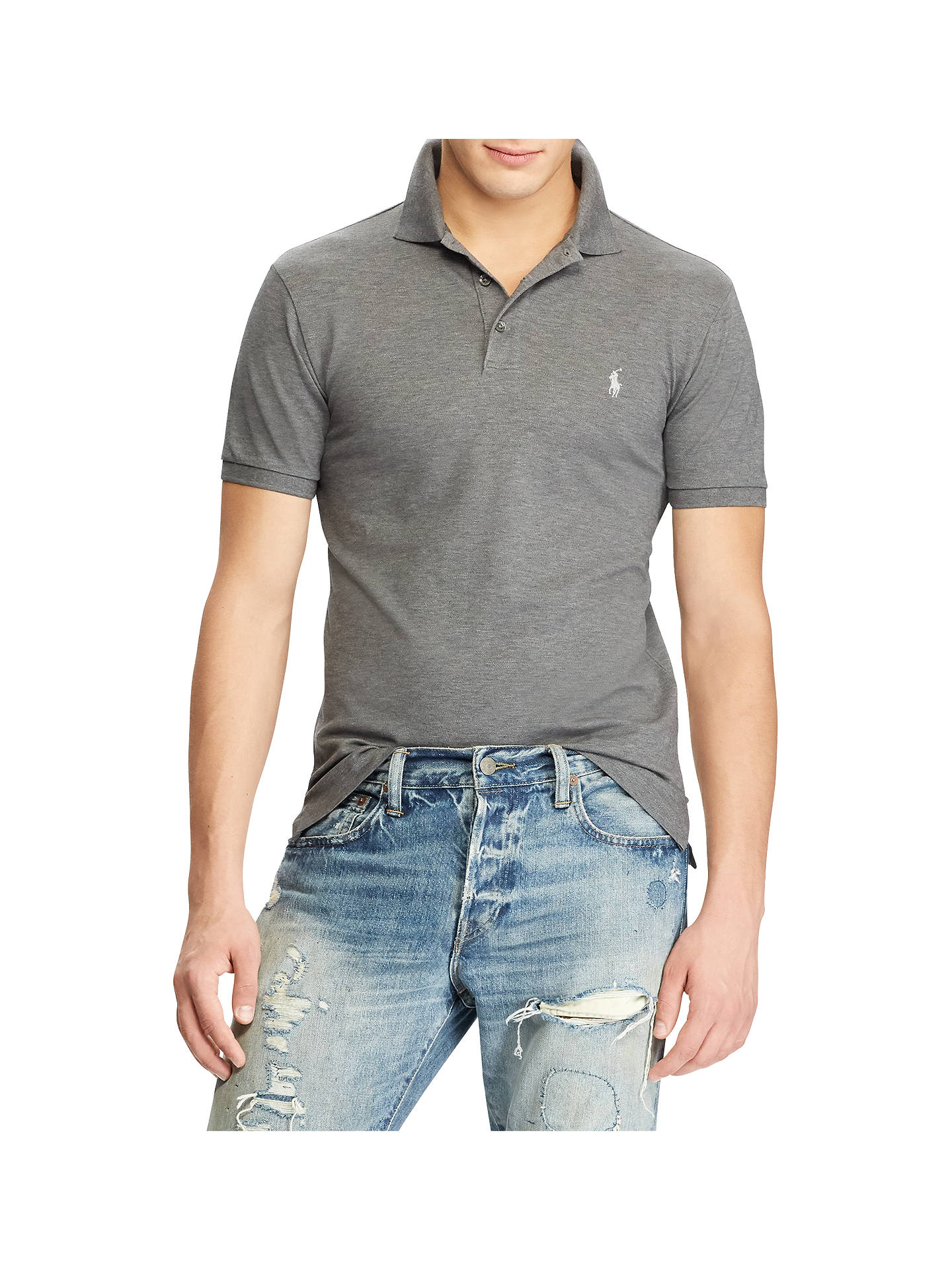 29c1a46b4 Buy Polo Ralph Lauren Custom Slim Fit Polo Top, Foster Grey Heather, S  Online ...