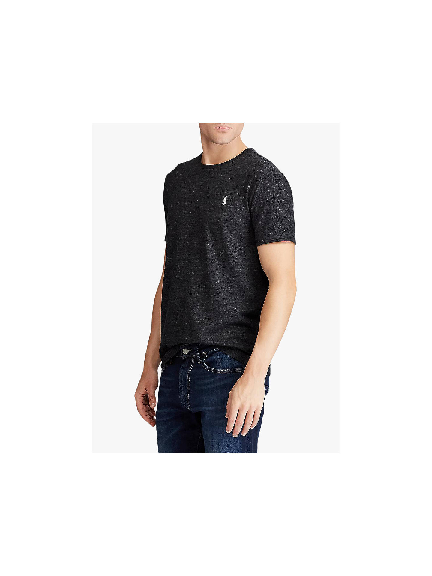 Buy Polo Ralph Lauren Short Sleeve Custom Slim Fit T-Shirt, Black Marl, S Online at johnlewis.com