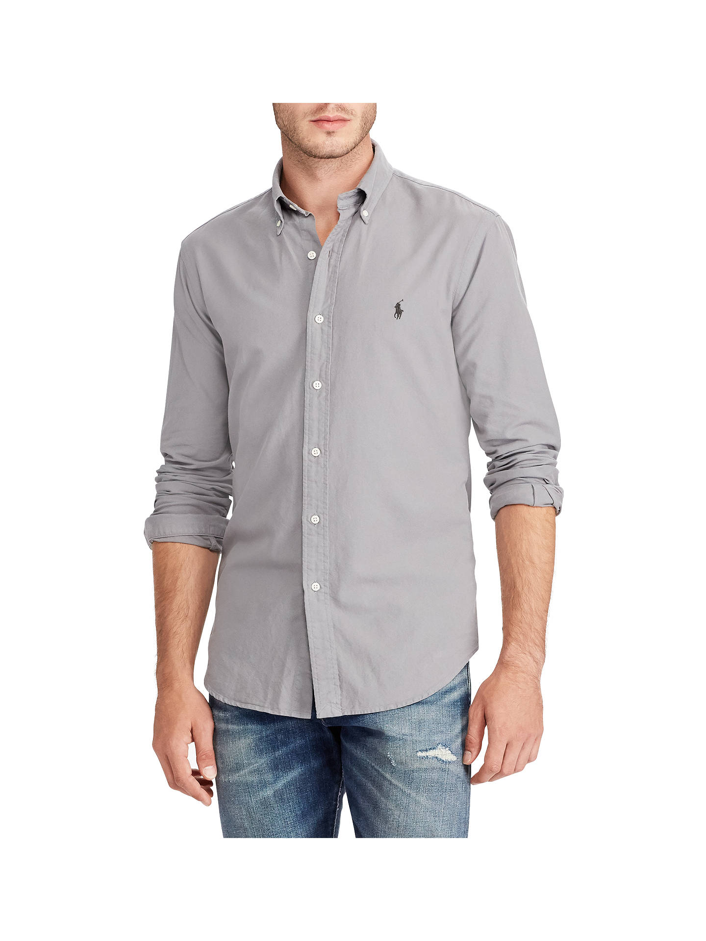 a45e17ca Buy Polo Ralph Lauren Cotton Oxford Slim Fit Shirt, Grey, S Online at  johnlewis ...